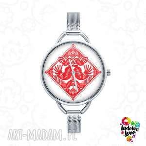 Zegarek z grafiką KURPIOWSKIE KURKI, folk, folklor, etniczne, ludowe, ludowy, kurpie