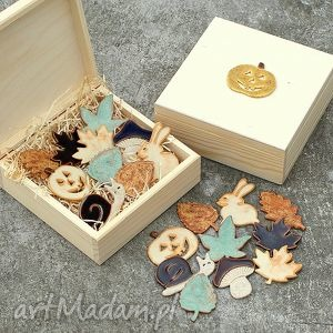 Prezent Zestaw magnesów JESIEŃ, pudełko, magnesy, kuchnia, prezent, ceramika, jesień