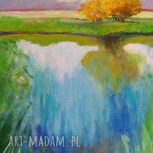 obraz na płótnie - wiosna 24/30 cm, wiosna, drzewa, obraz, staw, radość, akryl