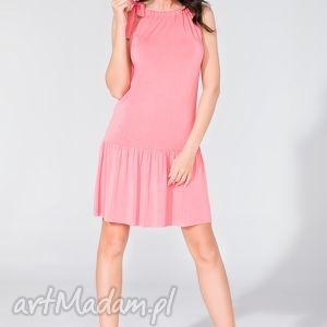 sukienka z falbanką t129 różowy - sukienka, letnia, falbanka, kokarda