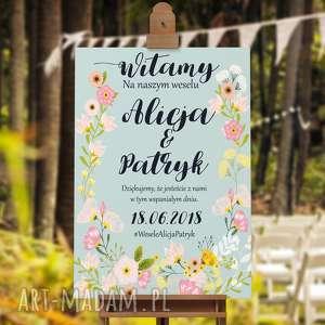 Weselny plakat powitalny - pełen kwiatów, plakat, ślub, wesele, plakat-powitalny