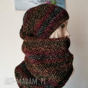 barwna jesień - komplet na zimę, rękodzieło, bezszwowa czapka na druta