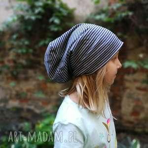 Ruda Klara! czapka dzianinowa w paski szaro granatowa sportowa