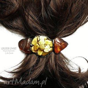 ozdoby do włosów spinka włosów, cud bursztynu prezent luksusowy hand made