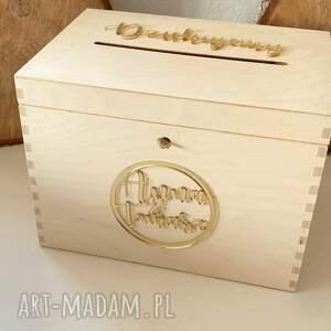 pudełko na koperty ślub, naturalne z lustrzanymi napisami