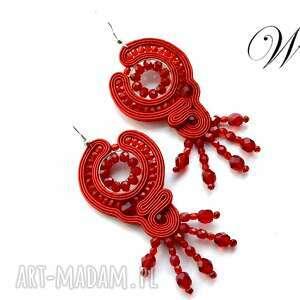 kolczyki sutasz czerwone, sutasz, kolczyki, eleganckie, modne, święta