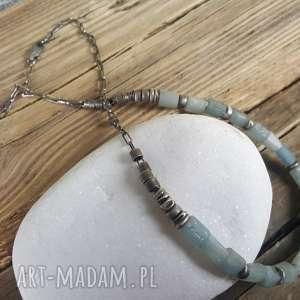 Naszyjnik srebrny z akwamarynem, naszyjnik-srebrny, srebro-akwamaryn, srebro