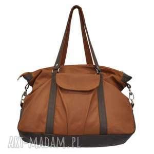 na ramię 07-0014 rudo-brązowa torebka sportowa / torba fitness pigeon, duże torebki