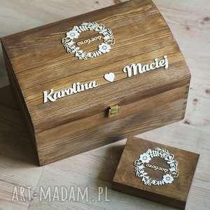 Zestaw pudełek z wiankiem, pudełko, eko, obrączki, koperty, drewno, wianek