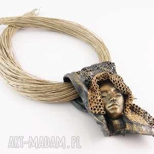 naszyjniki kobiecy artystyczny naszyjnik lniany, naszyjnik, lniany