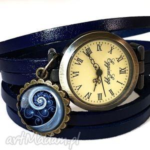 handmade zegarki niebieska spirala - zegarek/ bransoletka na skórzanym pasku