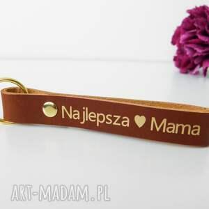 breloki skórzany brelok breloczek do kluczy najlepsza mama - koniakowy brązowy