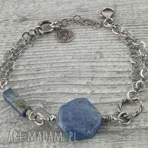 bransoletka srebrna z kyanitem i lapis lazuli