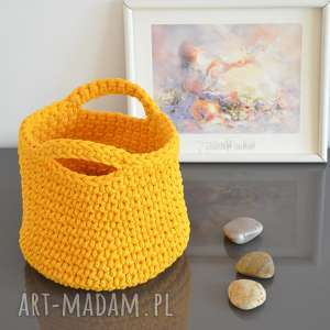 Kosz ze sznurka bawełnianego - żółty, kosz, koszyk, ze-sznurka, rękodzieło, szydełko