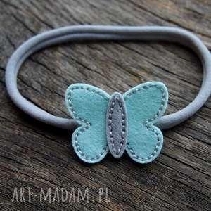 butterfly opaska do włosów miętowo szara, elastyczna, motylek, opaska, filc