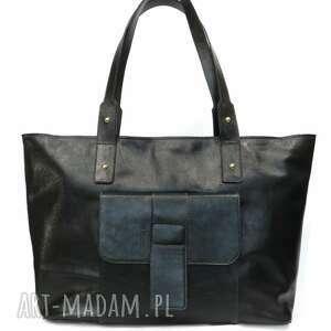handmade skórzana torba xxl ciemnozielona