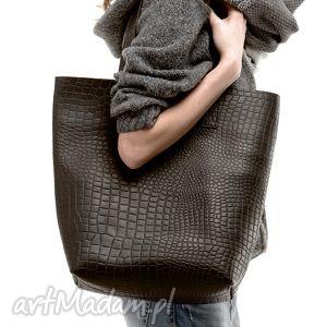 handmade na ramię skórzana torba damska shopper snake