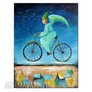 anioł cyklista nocny, obraz ręcznie malowany, obraz, ręcznie