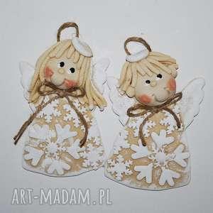 ręcznie zrobione upominek świąteczny brakuje bałwanka - aniołki z masy