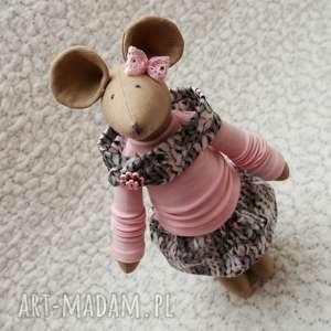 Dresówkowa Partnerka, myszka, szczurek, roczek, chrzest, maskotka, kwiatek