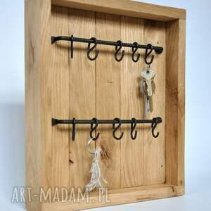 oldtree dębowa skrzyneczka na klucze, drewniana, prezent, haczyk, loft