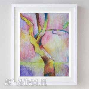 kolorowe drzewo - akwarela formatu a4, akwarela, abstrakcja, kredki, drzewo