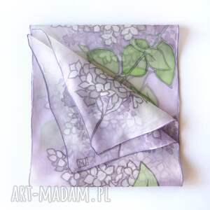 chustki i apaszki kwiaty bzu szal jedwabny, jedwabny malowany, malowana