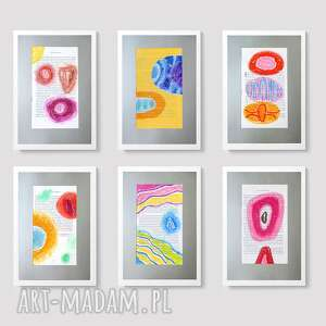 pastele zestaw 6 rysunków pastelowych, rysunek, pastel, zestaw, dekoracyjny