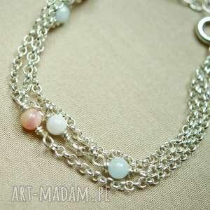 pastelowa bransoletka ze srebra, srebro, pastelowa, lekka, delikatna, kobieca