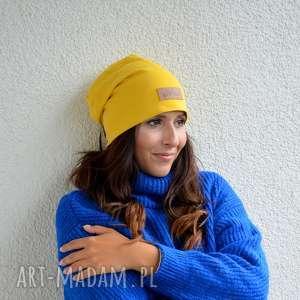 żółta gładka czapka beanie unisex, czapka, beanie, gładka, ciepła