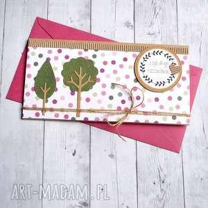 Kartka - kopertówka: drzewka: pink dots kartki kaktusia ślub