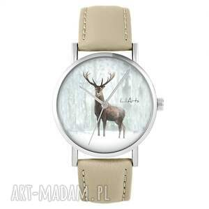 zegarek - jeleń 3 skórzany, beżowy, zegarek, pasek, jeleń, leśny