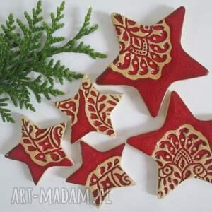 zestaw 5 gwiazdek magnesów, magnesy ceramiczne, świąteczne, bożonarodzeniowe