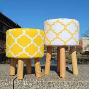 Pufa Koniczyna Maroco Biało -Żółta 2 - 45, puf, pufa, taboret, siedzisko, stołek,