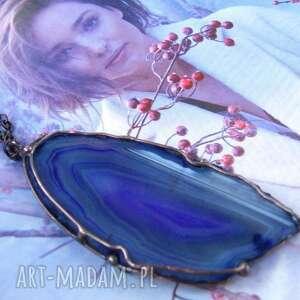 Wisiorek z łańcuszkiem: pisanka fioletowym agatem wisiorki
