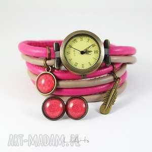 handmade zegarki komplet - piórko zegarek i kolczyki różowo, beżowy antyczny
