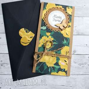 hand-made kartki kartka ślubna - navy blue & yellow slim