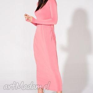 sukienki sukienka maxi, t143, różowa, sukienka, dzianina, wiskoza, luźna