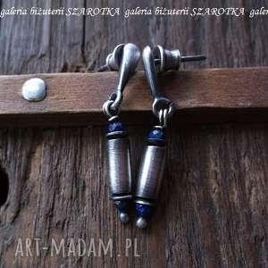 wyjątkowa niebieskość kolczyki z lapisu i srebra, lapis, lazuli, srebro, oksydowane