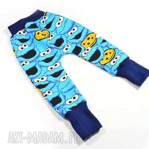 56-116 ciasteczkowy potwór bawełniane spodnie z dresówki, niebieskie