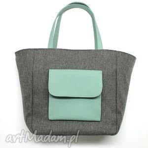 handmade na ramię shopper bag worek - tkanina szara i skóra miętowa