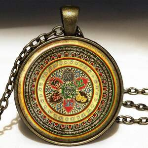 egginegg kolorowa mandala - duży medalion z łańcuszkiem