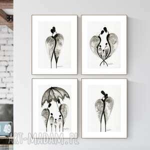 zestaw 4 grafik a4 wykonanych ręcznie, grafika czarno-biała, abstrakcja