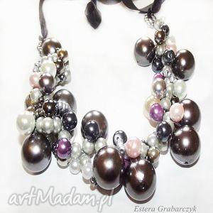 naszyjnik beading-grafit - naszyjnik, beading, perła, srebrny, ślub, moda