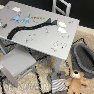 stolik i dwa krzesełka motyw indiański, krzesełko, meble dziecięce