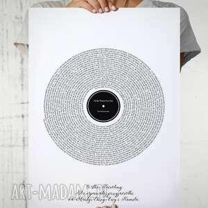 plakat z tekstem piosenki jak płyta winylowa 50x70 cm, plakat