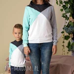ręcznie wykonane ubranka komplet bluz dla mamy i dziecka 3 kolory