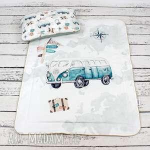 handmade dla dziecka zestaw 75x100 kocyk i płaska poduszka eurotrip