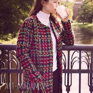 bien fashion długa elegancka kurtka damska na sezon przejściowy - otwarta