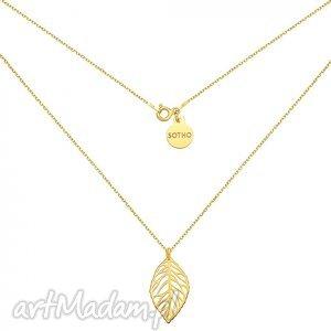 sotho złoty naszyjnik z ażurowym liściem listek, srebro